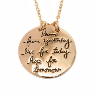 Goldplated Reversible Inspirational Necklace - Gold