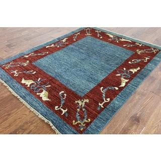 Hand-Knotted Oriental Gabbeh Chobi Blue wool Rug (5' 1 x 6' 4)