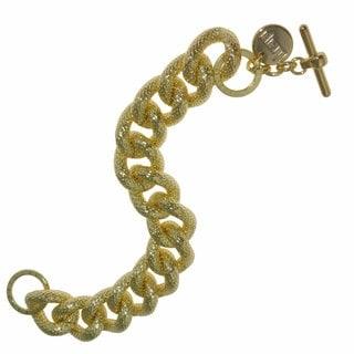 Isla Simone - 18 Karat Gold Plated Textured Twisted Link Bracelet