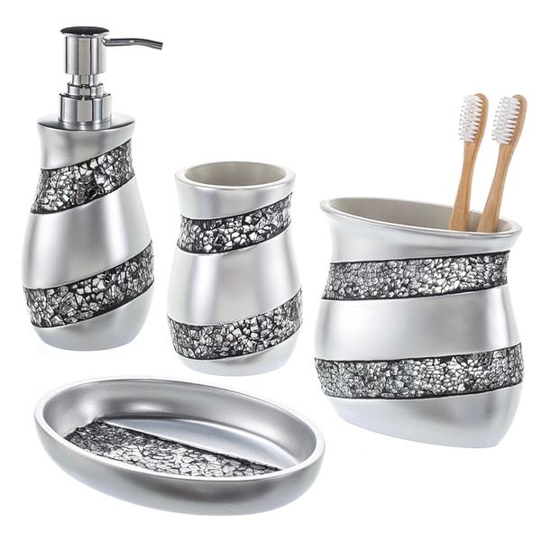 Creative Scents Silver Mosaic Gl 4 Piece Bathroom Accessory Set