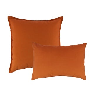 Austin Horn Classics Sunbrella Canvas Tangerine Combo Outdoor Throw Pillows
