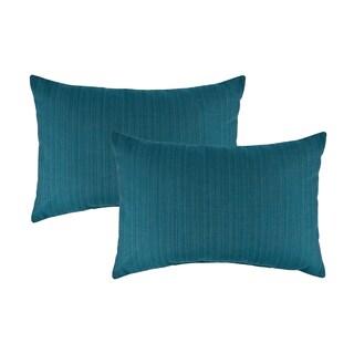 Austin Horn Classics Sunbrella Dupione Deep Sea Boudoir Outdoor Throw Pillows (set of 2)