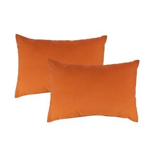 Austin Horn Classics Sunbrella Canvas Tangerine Boudoir Outdoor Throw Pillows (set of 2)