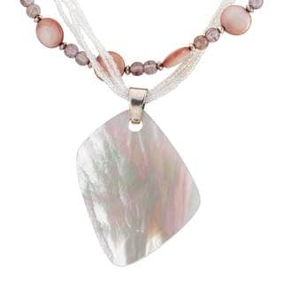 Sterling Silver Shell and Glass Bead Layered Necklace