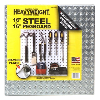 "John Sterling Corp 0204-1616 16"" X 16"" Steel Diamond Plate Heavyweight Pegboard"