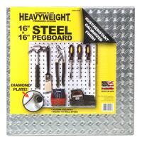 "John Sterling Corp 0204-1616 16"" X 16"" Steel Diamond Plate Heavyweight Pegboard"