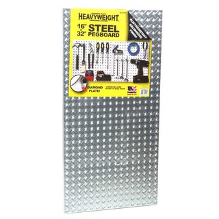 "John Sterling Corp 0204-1632 16"" X 32"" Steel Diamond Plate Heavyweight Pegboard"