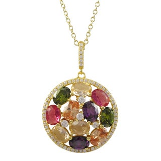 Luxiro Gold Finish Sterling Silver Multi-color Cubic Zirconia Circle Pendant Necklace