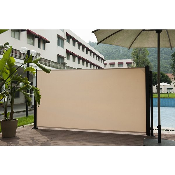 Shop abba patio beige retractable folding screen privacy for Retractable deck screens