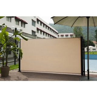Havenside Home Angoon Beige Retractable Folding Screen Privacy Divider