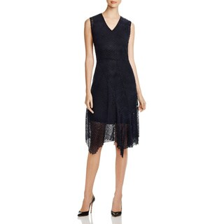 Elie Tahari Women's Eloise Black Lace Asymmetrical Hem Dress