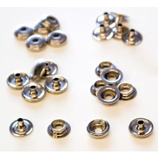 Lord & Hodge 1100 Brass Nickel Plated Canvas Snap Fastener Kit 6-ct
