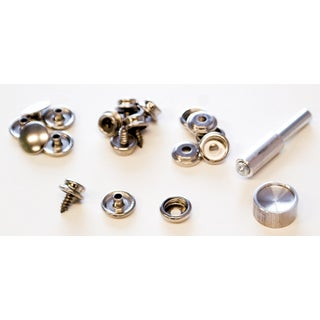 Lord & Hodge 1110 Brass Nickel Plated Screw Stud Snap Fastener Kit 6-ct