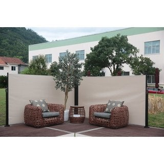 Abba Patio Beige Retractable Folding Double Screen Privacy Divider