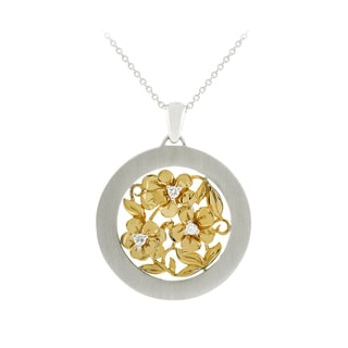 14k Sterling Silver Diamond Accent Flower Necklace