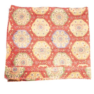 Vintage Kantha Indian Handmade Persimmon Floral Quilt (India)