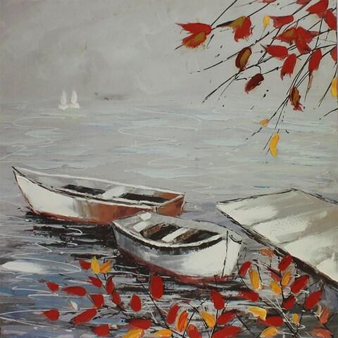 Autumn Lakeside Dock Square Giclee Cavas Wall Art