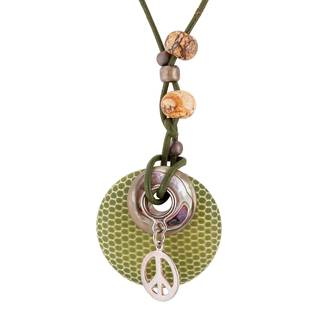 Sterling Silver and Leather Cord Wood, Jasper, and Abalone Necklace - Green