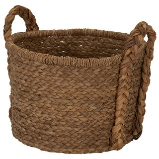 Household Essentials Large Wicker Floor Basket With Braided Handle - 19''x 25''