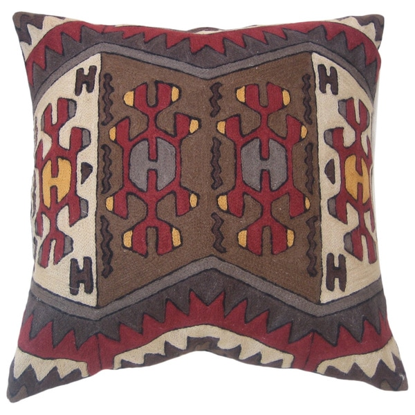 Handmade Nomad Chain Stitch Throw Pillow (India)
