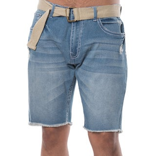 Men's Blue Cotton/Polyester/Spandex Ripped Soft Denim 5-pocket Belted Shorts