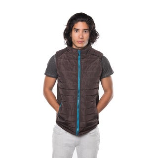 Rock Revolution Men's Blue/Black/Beige/Brown Polyester Quilted Lined Zip-up Vest with Flannel Plaid Lining