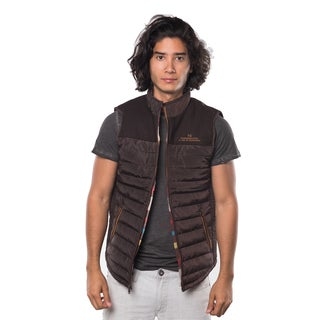 Rock Revolution Men's Blue/Black/Beige/Brown Polyester Quilted Fur-lined Zip-up Vest with Elastic Side Gathering