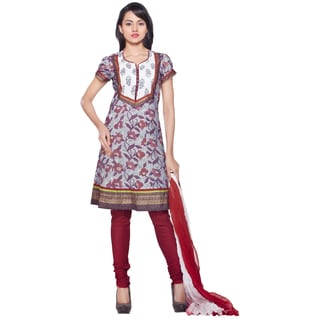 Handmade Women's Indian 3-Piece Ensemble With Decorative Yoke and Print (India)