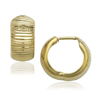 10k Yellow Gold Ribbed-hinged Earrings