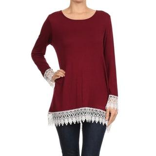 Women's Rayon/Spandex Solid Crochet-trim Top