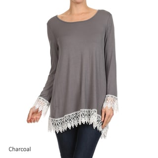 Women's Rayon/Spandex Solid Crochet-trim Top