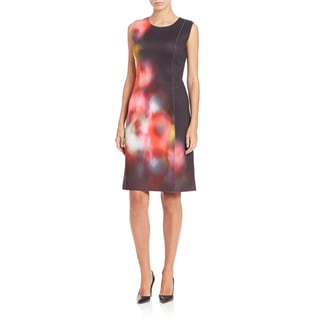 Elie Tahari Chrissy Poppy Polyester Sleeveless Scuba Dress