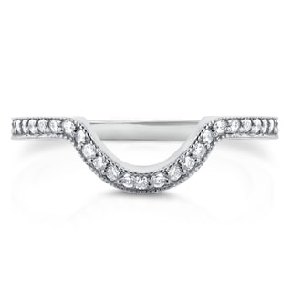 Annello by Kobelli 14k White Gold 1/5ct TDW Diamond Curved Shadow Wedding Band