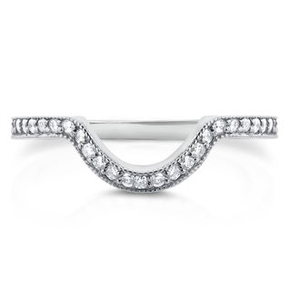Annello 14k White Gold 1/5ct TDW Diamond Curved Shadow Wedding Band (G-H, I1-I2)