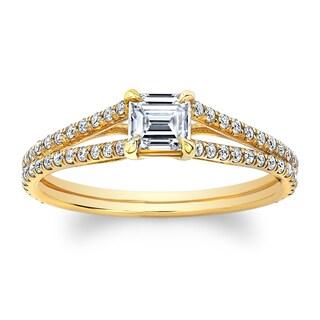 Matthew Ryan Designs 14k Yellow Gold 1 1/10ct TDW Asscher-cut Diamond Engagement Ring (More options available)
