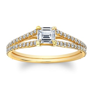 Matthew Ryan Designs 14k Yellow Gold 1 1/10ct TDW Asscher-cut Diamond Engagement Ring (H-I, SI1-SI2)