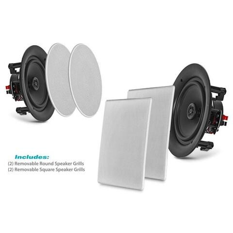 Pyle PDIC1666 White 6.5-inch 200-watt 2-way Flush-mount In-wall Home Speakers (Set of 2)