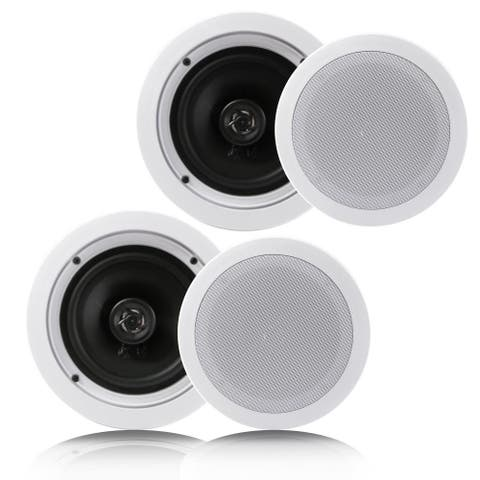 Pyle PDIC1661RD Dual 6.5-inch In-Wall/In-Ceiling Speakers, 2-Way 200 Watt, White Flush Mount Home Speakers