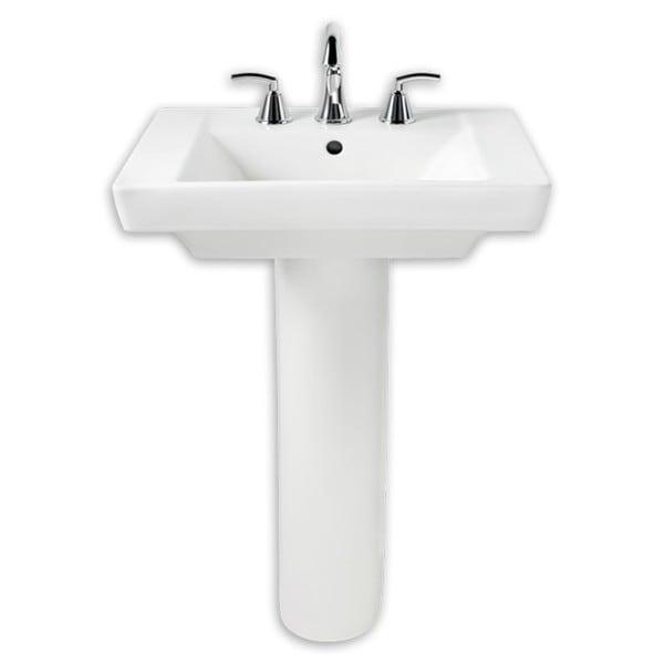 American Standard Boulevard White Porcelain Pedestal Bathroom Sink ...