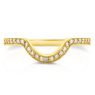 Annello by Kobelli 14k Yellow Gold 1/5ct TDW Diamond Curved Shadow Wedding Band (G-H, I1-