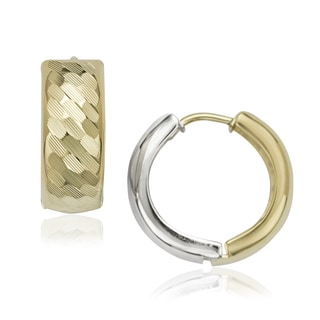 10K White/Yellow Gold Textured Reversible Hinged Earring