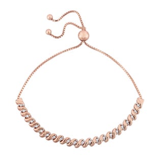 Miadora Sterling Silver 1/4ct TDW Diamond Swirl Adjustable Bracelet (Option: Rose Plated Sterling Silver)