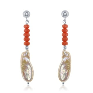 La Preciosa Women's Sterling Silver Freshwater Pearl and Natural Stone Earrings