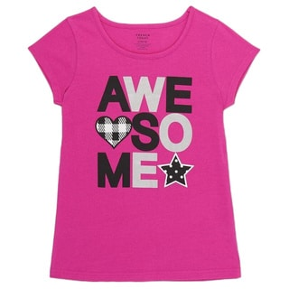 French Toast Girls Short-sleeve 'Awesome' Pink Cotton Graphic Tee