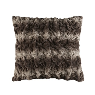 Madison Park Ruched Fur Faux Tip Dyed Brushed Long Fur Euro Throw Pillows 3-Color Option