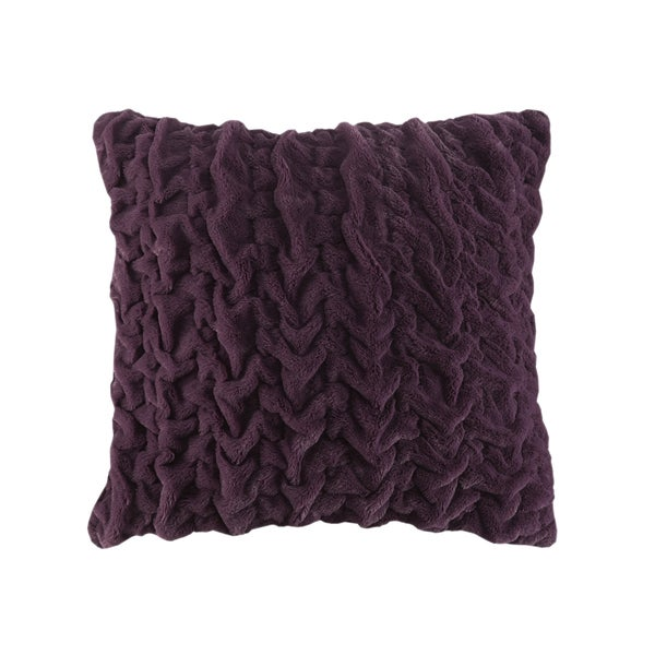Madison Park Ruched Fur Solid Brushed Long Fur Euro Throw Pillows 4-Color Option - Free Shipping ...