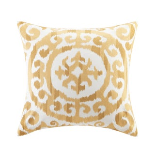 INK+IVY Mead Yellow Cotton Embroidered Medallion Decorative Throw Pillows