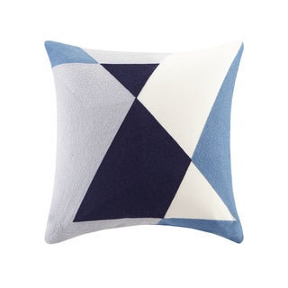 INK+IVY Aero Blue Cotton Embroidered Abstract Decorative Throw Pillows
