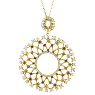 Luxiro Gold Finish Sterling Silver Cubic Zirconia Ornate Circle Pendant Necklace