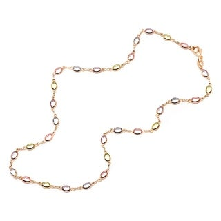 Goldplated Multicolor Oval Link Necklace Gold